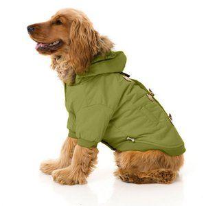 Fuzzyard Dog Green Duffel Coat Jacket Hooded